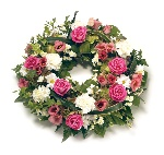 Wreath Leaf Edging  Pink and White